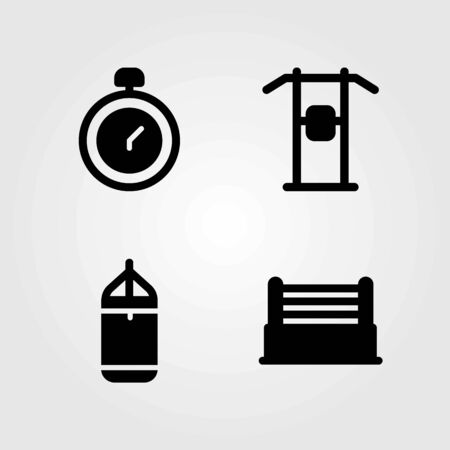 Fitness vector icons set.Pull up, chronometer and punching bar icons. Illustration