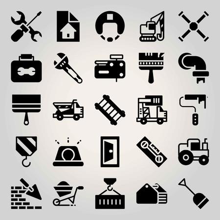Construction vector icon set. crane, nail gun, dumper and paint roller 矢量图像