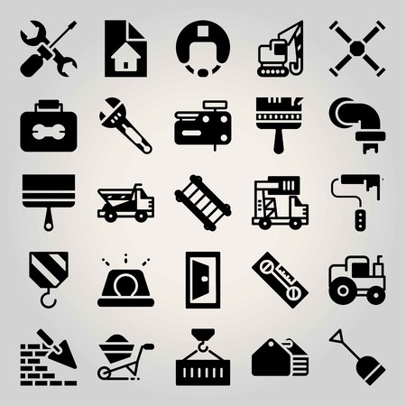 Construction vector icon set. crane, nail gun, dumper and paint roller Illustration