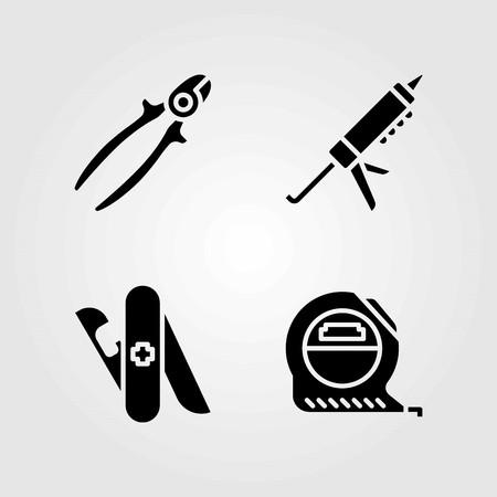 Tools vector icons set. measure, tape measure and sealant gun