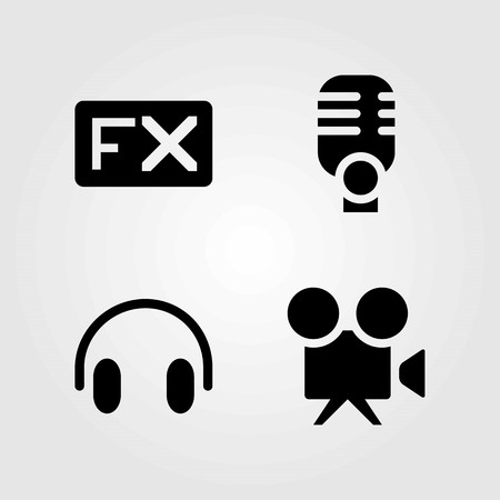 Multimedia vector icons set. headphones, fx and microphone
