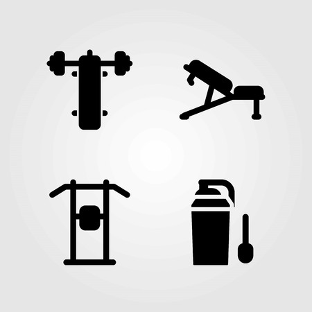 Fitness vector icons set. bench, bench press and pull up