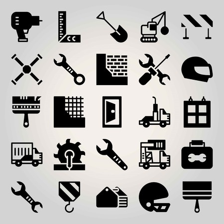 Construction vector icon set. ruler, demolition, toolbox and truck