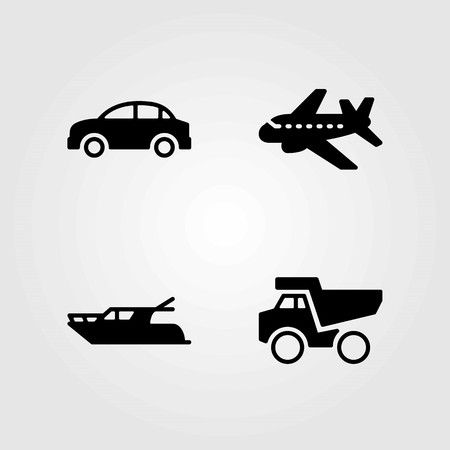Transport vector icons set. car, dumper and airplane