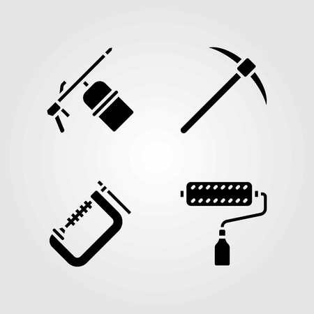 Tools vector icons set. pick axe, paint roller and clamp