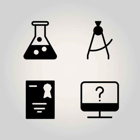 Science vector icon set. serticifate, diploma and flask