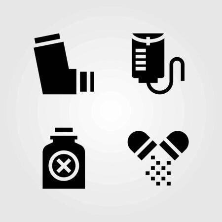 Medische vector iconen set. pillen, fles en inhalator Stock Illustratie