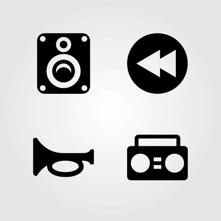 Multimedia vector icons set. trumpet, rewind and boombox