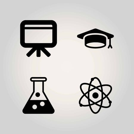 School vector icon set. flask, atom and blackboard