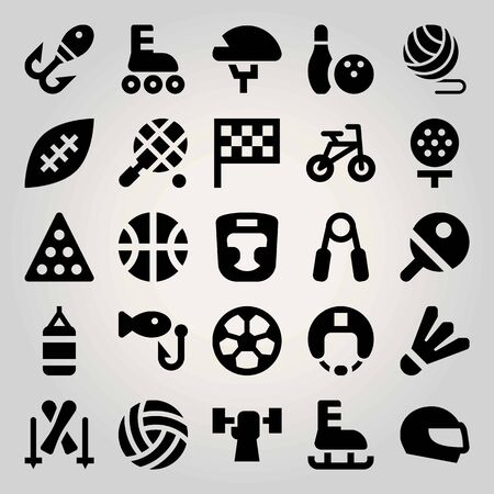 Sport vector icon set. helmet, basketball, bowling and flag