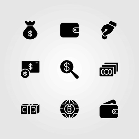 Money vector icons set. coin, money and bag