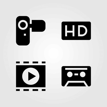 Technology vector icons set. movie player, cassette and camera
