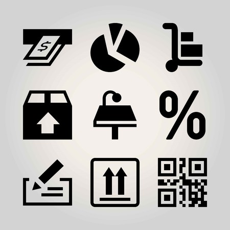 Business vector icon set. persentage, chart, package and cash