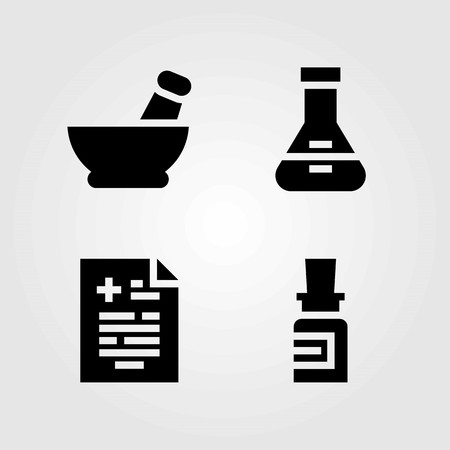 Medical vector icons set. medicine, flask and mortar
