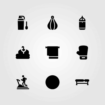 Fitness vector icons set. treadmill, boxing glove and punching