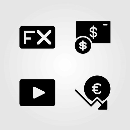 Buttons vector icons set. video player, euro and fx