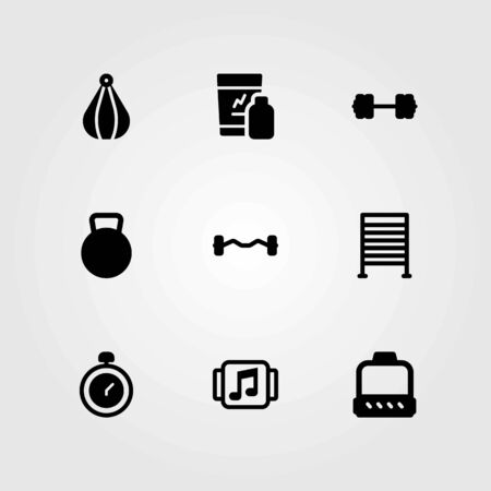 Fitness vector icons set. gym bars, music player and chronometer
