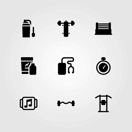 Fitness vector icons set. biceps dumbbell, protein and bench press Illustration