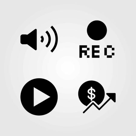 Buttons vector icons set. volume, play button and rec