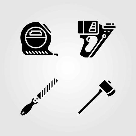 Tools vector icons set. tape, axe and nail gun