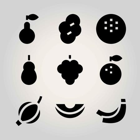Fruits vector icon set. orange, raspberry, pear and banana