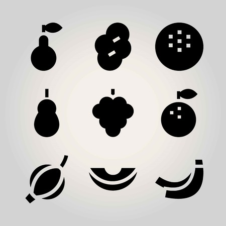 Fruits vector icon set. orange, raspberry, pear and banana