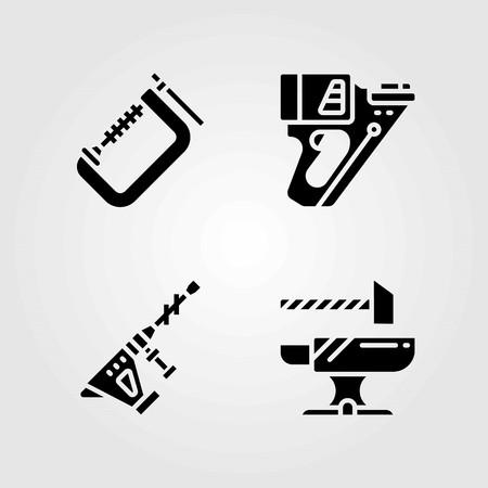 Tools vector icons set. hammer drill, anvil and nail gun Illustration