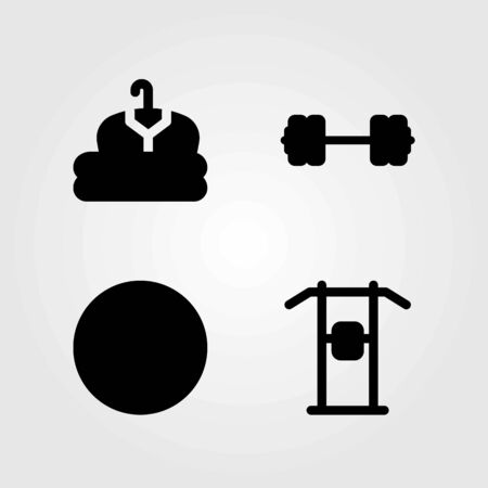 Fitness vector icons set. cloth, pull up bar and pull up