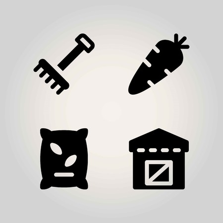 Farm vector icon set. fertilizer, carrot, warehouse and rake