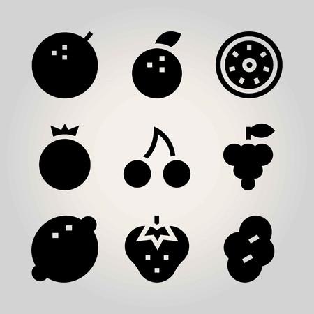 Fruits vector icon set. kiwi, grape, pomegranate and strawberry