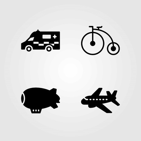 Transport vector icons set. ambulance, zeppelin and bicycle Stok Fotoğraf - 94061369