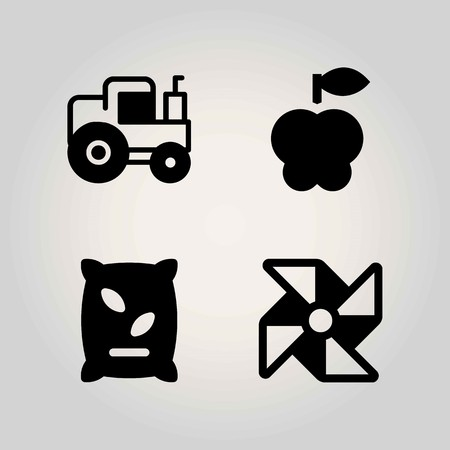 Agriculture vector icon set. tractor, apple, pinwheel and fertilizer Illustration