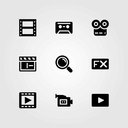 Multimedia vector icons set. video player, movie player and cassette