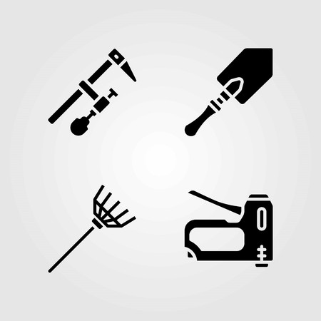 Tools vector icons set. shovel, rake and staple gun