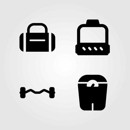 Fitness vector icons set. dumbbell, biceps dumbbell and hammed Çizim