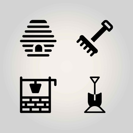 Farm vector icon set. beehive, well, shovel and rake Ilustrace
