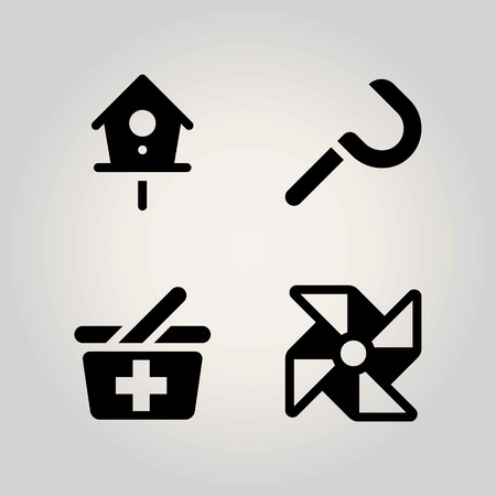 Agriculture vector icon set. basket, pinwheel, birdhouse and sickle