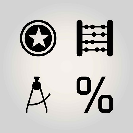 School vector icon set. percentage, star and abacus Illustration