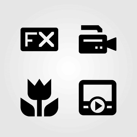 Multimedia vector icons set. video camera, fx and macro