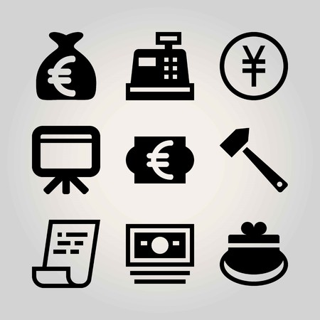 Business vector icon set. hammer, whiteboard, money and euro Çizim