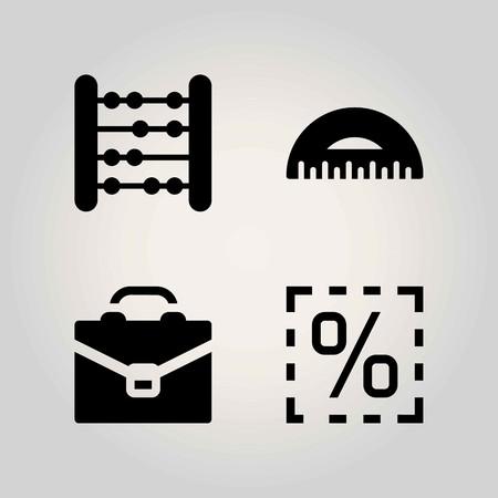 School vector icon set. brief, briefcase and abacus