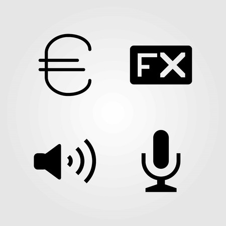 Buttons vector icons set. mic, fx and microphone Illustration