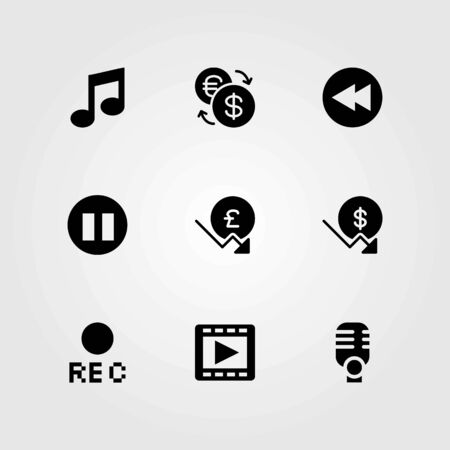 Buttons vector icons set. movie player, rewind and exchange