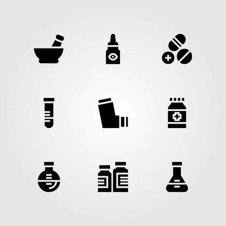 Medical vector icons set. pills, medicine and flask Vectores