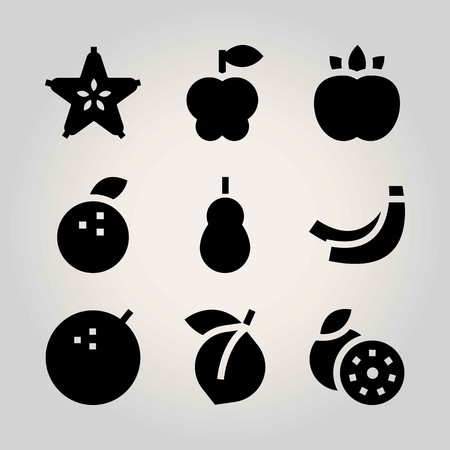 Fruits vector icon set. lime, carambola, quince and tangerine