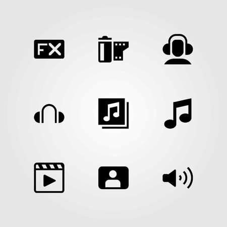 Multimedia vector icons set. fx, headphones and film roll