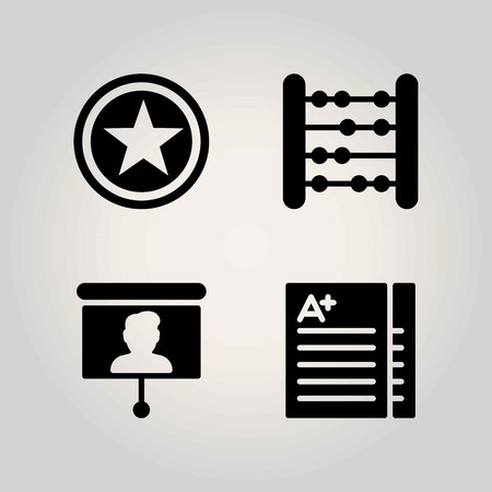 School vector icon set. presentation, exam and abacus