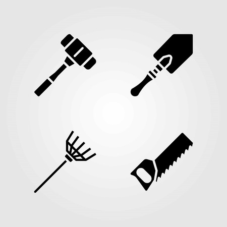 Tools vector icons set. mallet, shovel and rake