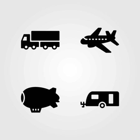 Transport vector icons set. zeppelin, caravan and lorry