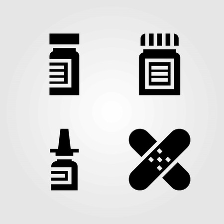 Medical vector icons set. nasal spray, medicine and patch Illustration